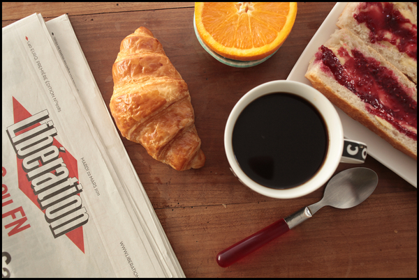 Libé coffee croissant orange juice jam butter baguette